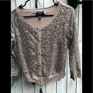 American Eagle outfitters pewter sequin cardigan